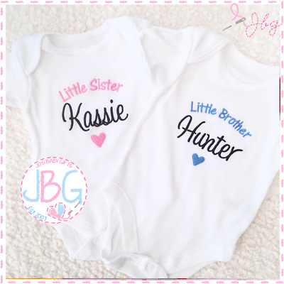 Personalised 'Little Brother / Sister' Baby Vest/Onsie,Baby Shower/New Baby Gift