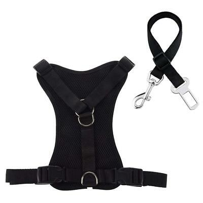 Padded Dog Harness, Adjustable Mesh Pet Vest Harness with Vehicle Car Seat Belt
