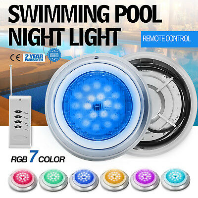 Swimming Pool LED Light 54W 12V RGB 7 Color Lamp Underwater Remote Control Spas