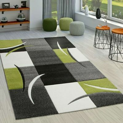 Modern Checked Rug Small Extra Large Size Mats Grey Green Kitchen Living Rugs