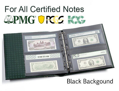 20 Pages For Certified Graded PMG PCGS Bank Notes Currency Collection 2S BLACK