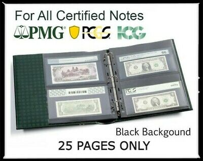 25 Album Pages For Certified Graded PMG PCGS Banknote Currency Lighthouse Grande