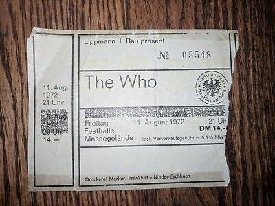 THE WHO TOUR CONCERT TICKET AUG 11 '72 FRANKFURT FESTHALLE GERMANY The Who Tour