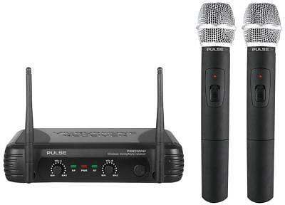 Pulse Dual Channel VHF Wireless Radio Microphone System Two Twin Handheld Mics