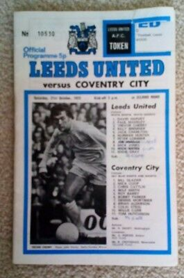 Leeds United v Coventry City football programme, Division 1 match, 21 Oct 1972