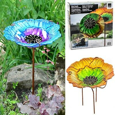Bird Bath Feeder on Stake Garden Feature Birds Flowers Decoration Glass & Iron
