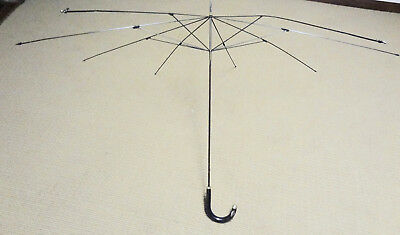 c. 1930 English Gentleman's Umbrella W/Sterling Silver Trim--No Covering