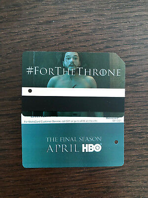 Game Of Thrones LIMITED EDITION MTA Metrocard John Snow mint condition