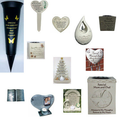 Mum And Dad Memorials Heart Butterfly Wind Chime, Grave Plaque, Book & Memorial