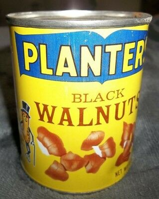 Vintage 1960s PLANTERS Black WALNUTS 4 oz can SEALED nuts