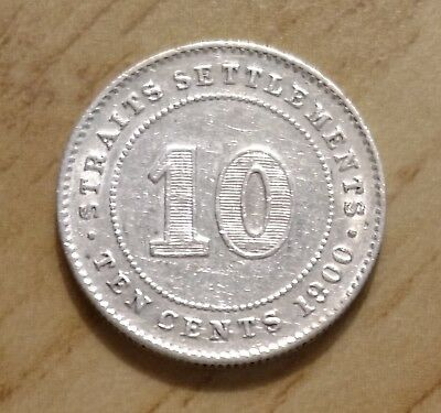 """Malaysia 1900 Silver 10 Cents """"queen Victoria"""" Straits Settlements"""