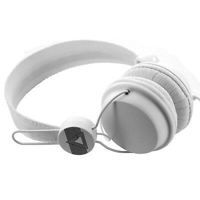 White Wired On-Ear Stereo Headphones With Mic & Remote 3.5mm Jack - BRAND NEW