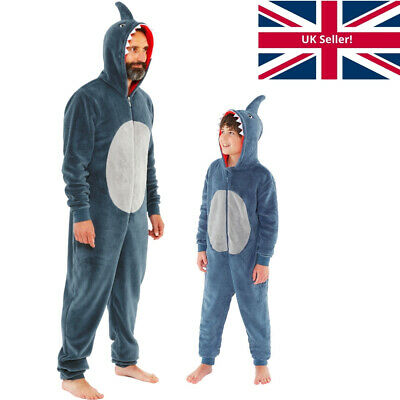 Shark 1Onesie Onesey Boys Mens Twinning Dad Son Fleece Hooded Jumpsuit Grey