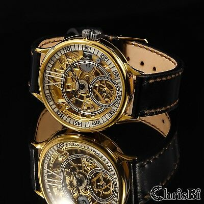 LeCOULTRE movement SWISS Skeleton Case Gold Plated Watch We are Manufacturer