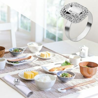 12pcs Wedding Banquet Silver Serviette Buckle Holder Diamante Napkin Ring AU