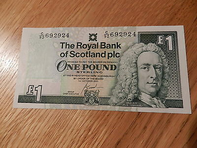 Royal Bank Of Scotland Mint Condition Scottish One Pound £1 Note