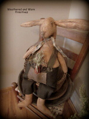 """Primitive Aged Fabric Easter Rabbit Bunny with Overalls & Carrot 21"""" Tall"""