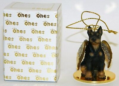 "Doberman Pinscher Dog Figurine Ornament Angel 2"" Figure Tiny Ones Black Tan"