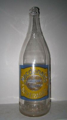 NR - McDonalds Beverages,North Bay,Ont. Embossed & ACL ,ABM, Qt. ,Mint Condition