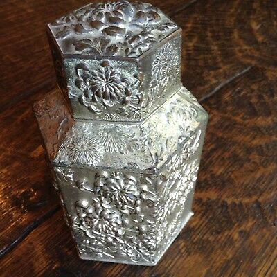 Magnificent Antique. Chinese Export Silverplate Tea Caddy Repousse
