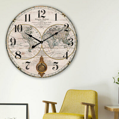 Retro wall clock world maps MDF Living Room Decoration Map digit numbers Time