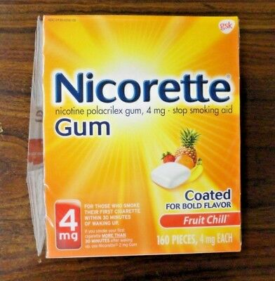 Nicorette Nicotine Gum, 4 mg, Coated Fruit Chill Flavor 160 Pieces