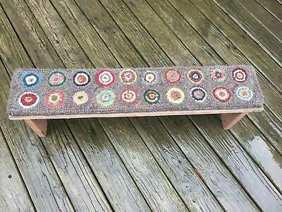Hand Made Primitive Style Hooked Rug Runner Penny Rug on Long Low Pine Bench