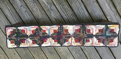 Hand Made Primitive Style Hooked Rug Runner Log Cabin on Long Low Pine Bench