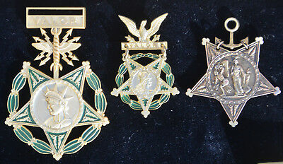Lot Of 3 Us Medals Of Honor: Army - Navy - Air Force (Congress)