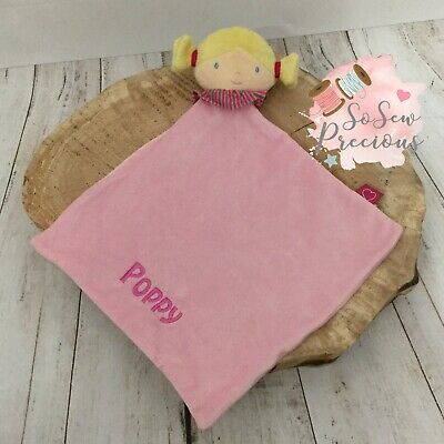 Personalised Baby Comforter Blanket, Rag Doll Pink, Embroidered, New Baby