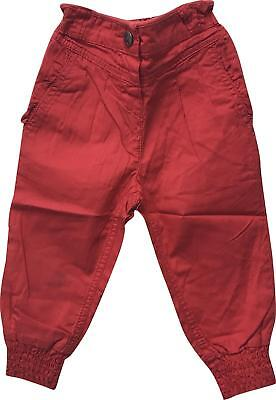 Girls George Red Cuffed Bottom Trousers Size 1-1.5 Years