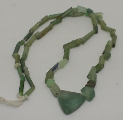 Ancient Roman Green Glass Bead Necklace Circa 2Nd Century Ad - No Reserve 091