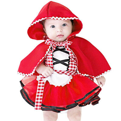 Baby Rotkapchen Kostum Kleid Marchen Karneval Party Fasching Cosplay