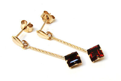 9ct Gold Garnet square Long Drop Earrings Made in UK Gift Boxed