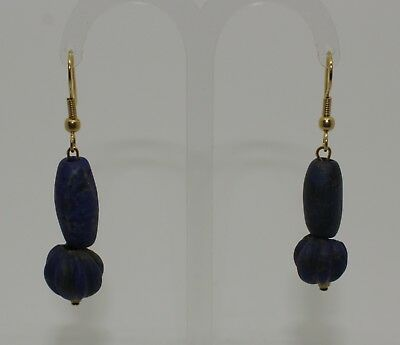 Ancient Carved Lapis Lazuli Bead Earrings - No Reserve 01