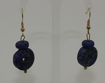 Ancient Carved Lapis Lazuli Bead Earrings - No Reserve 02