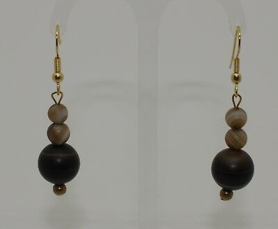 Ancient Carved Agate Bead Earrings - No Reserve 03