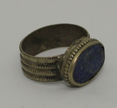 Nice Post Medieval Silver Ring With Lapis - No Reserve! 023441