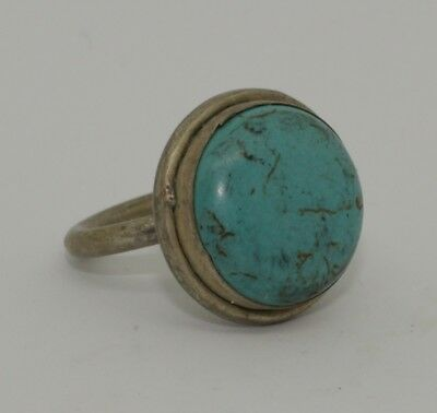 Nice Post Medieval Silver & Turquoise Ring - No Reserve  901