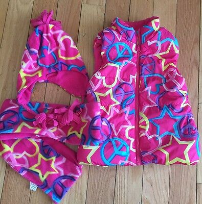 The Place Vest Hat And Scarf Matching Set Girls Size 5/6 Pink Hearts