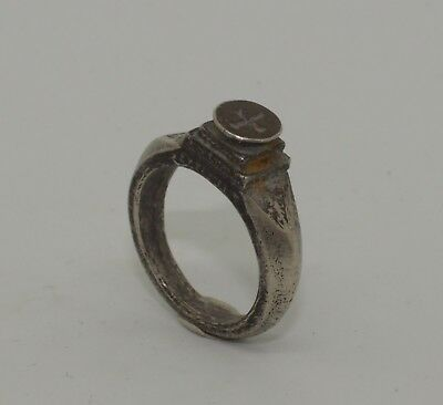 Superb 15Th Medieval Silver  Ring With Cross - No Reserve!