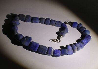 Large Ancient Carved Lapis Bead Necklace - No Reserve 03212