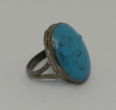 Nice Post Medieval Silver & Turquoise Ring - No Reserve  90