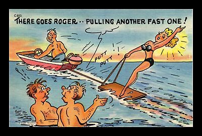 Dr Jim Stamps Us Roger Pulling Another Fast One Linen Topical Comic Postcard
