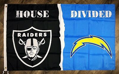 """Oakland Raiders vs Los Angeles Chargers """"House Divided"""" FLAG 3x5 ft Banner NFL"""