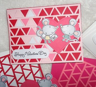 Papertrey Ink VALENTINE'S DAY Card Kit Reverse Confetti Happy Mail Heart  MICE