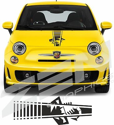 Fiat 500 595 696 Abarth scorpion Bonnet Stripe Decal Sticker any colour