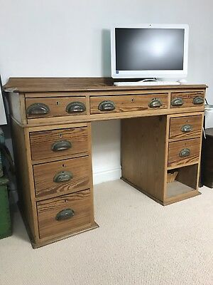 Solid Pitch Pine Victorian Antique Wooden Desk. Kneehole Desk With Cup Handles.