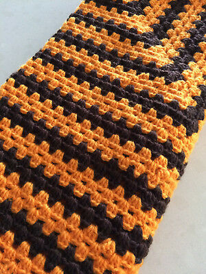 Handmade Crochet  Baby Blanket unisex, pram, car or Home Gold and brown Hawks