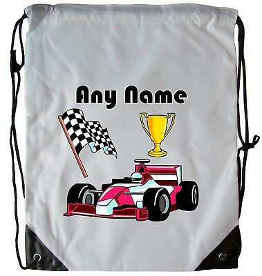 Personalised Racing Car Drawstring Gym Bag School Pe Swimming Dance Football